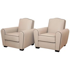 Pair of French Art Deco Armchairs or Club Chairs Beige Leather with Black Piping