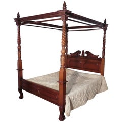 Large Mahogany Four Poster Bed