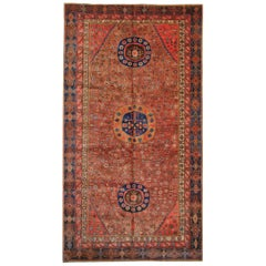 Rare Antique Rugs, Oriental Rugs Traditional Red Handmade Carpet from Khotan