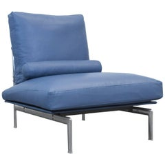 B&B Italia Diesis Designer Chair Blue Leather Oneseater Couch Modern