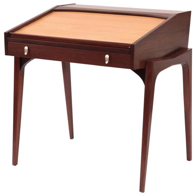 John Van Koert Walnut And Birch Roll Top Desk For