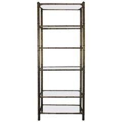 Vintage Faux Bamboo Metal Etagere