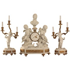 Fine and Large Sevres Bisque Clock Garniture De Cheminee