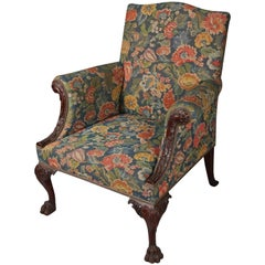 Antique Carved Mahogany Chippendale Style Chair with Tapestry Upholstery