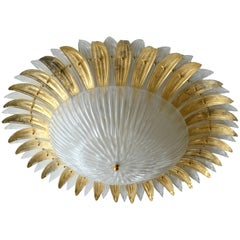 Modern Italian Murano Glass Palm Leaves Chandelier