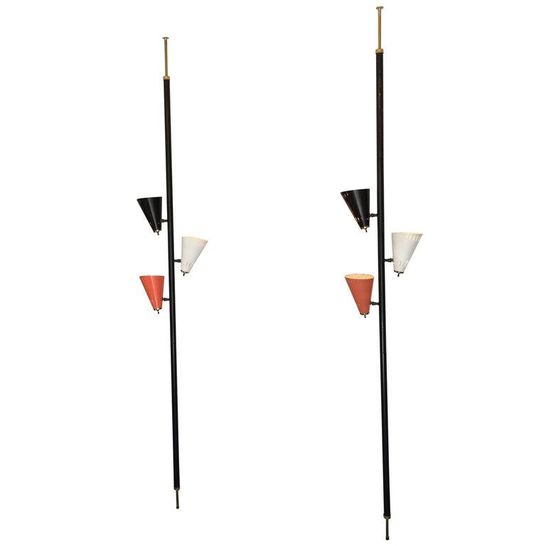 Pair of mid century modern pole tension floor lamps usa 1950s at pair of mid century modern pole tension floor lamps usa 1950s for sale mozeypictures Images