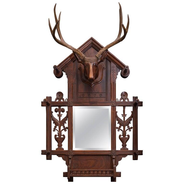 Black Forest Folk Art Deer Head Coat Rack For Sale