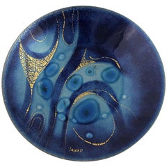 Sascha Brastoff Royal Blue Enamel Plate Abstract Design Mid-Century Modern