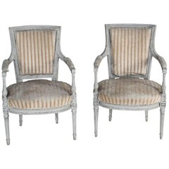 Louis XVI Carved and Painted Pair of Armchairs, circa 1780