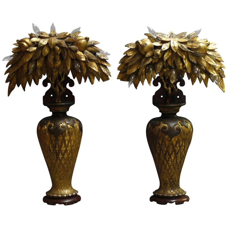 Pair of Tony Duquette Style Lamps, circa 1920 For Sale