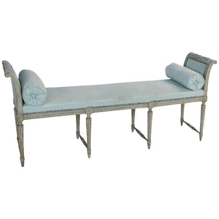 Painted French Bench or Window Seat, circa 1870