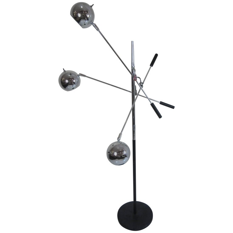 Robert Sonneman Atomic Ball Chrome Floor Lamp For Sale