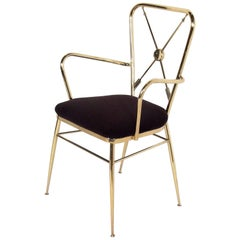 1950s, Italian Brass Crossed Arrow Back Chiavari Armchair