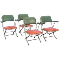 Set of Four Warren McArthur Two-Tone Folding Armchairs