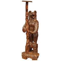 19th Century Swiss Black Forest Carved Bear Sculpture Stand with Glass Eyes