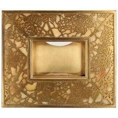 Antique Tiffany Studios Pierced Bronze and Slag Glass Picture Frame