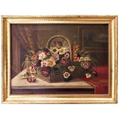 """Oil on Canvas Still Life """"Basket of Pansies"""""""