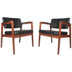 Pair of Mid-Century Modern Svegards Markaryd Leather and Walnut Armchairs