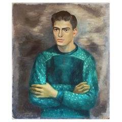 """Man in Green Sweater,"" Striking Mid-Century Portrait by Zimmerman, 1950s"
