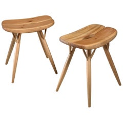 Rare Pair of Blond Pirkka Low Stools by Ilmari Tapiovaara, Finland, 1950s