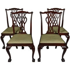 Four Antique Carved Mahogany Chippendale Ribbon Back Dining Chairs, 19th Century