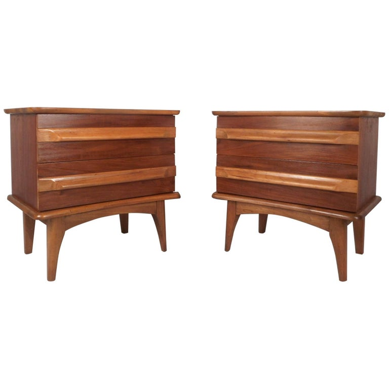 Mid century modern walnut nightstands for sale at 1stdibs for Modern nightstands for sale