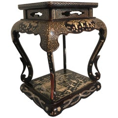 Japanese Showa Era Mother-of-Pearl Inlaid Side Table