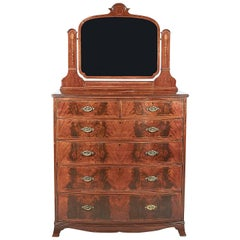 Antique English Inlaid Mahogany Bow-Front Dresser