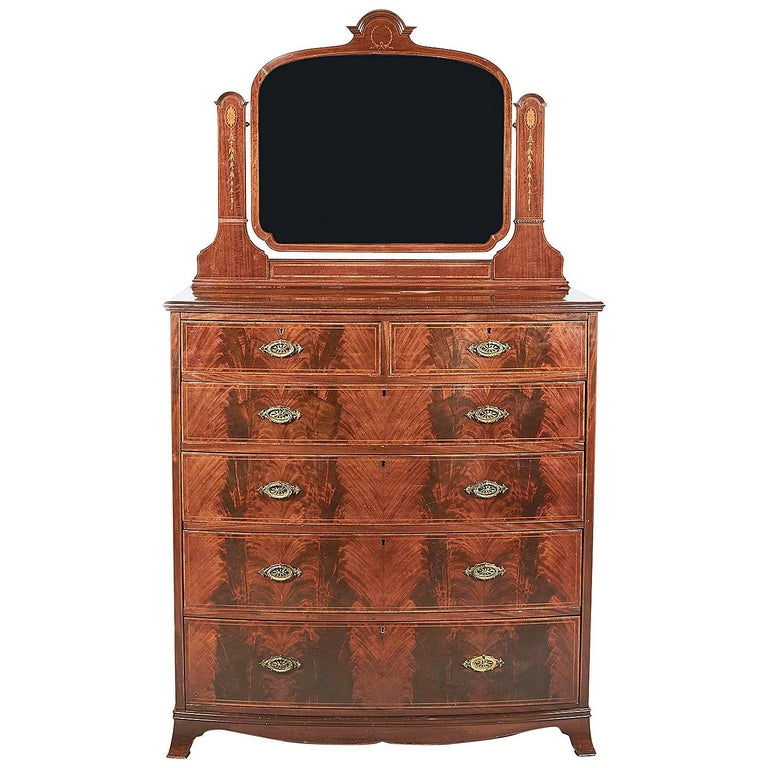Antique English Inlaid Mahogany Bow Front Dresser For