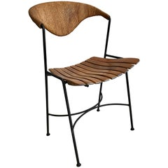 Arthur Umanoff Dining or Side Chair, Birch Slat Seat with Rush Back, 1950s