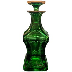 Antique Vivid Emerald Green Hand-Cut and Wheel Polished Decanter