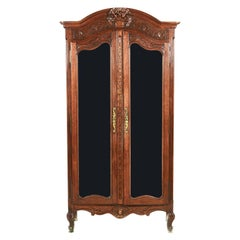 Small Antique French Carved Oak Two-Door Armoire