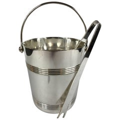 Christofle Silver Plate Ice Bucket and Tongs