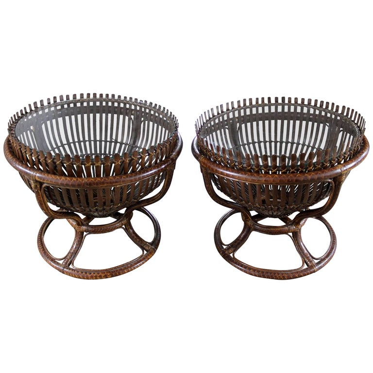 Pair of Fish Trap Basket Tables in the Style of Franco Albini