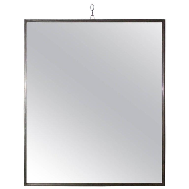 Industrial Steel Rectangular Wall Mirror, Contemporary