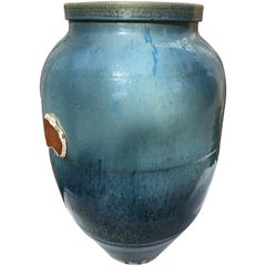 "Japanese Artisan Big 28"" Blue Shigaraki Pot 28"" Tall, One-of-a-Kind"