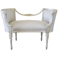 19th Century Antique Neoclassical Style Painted and Silk Upholstered Bench