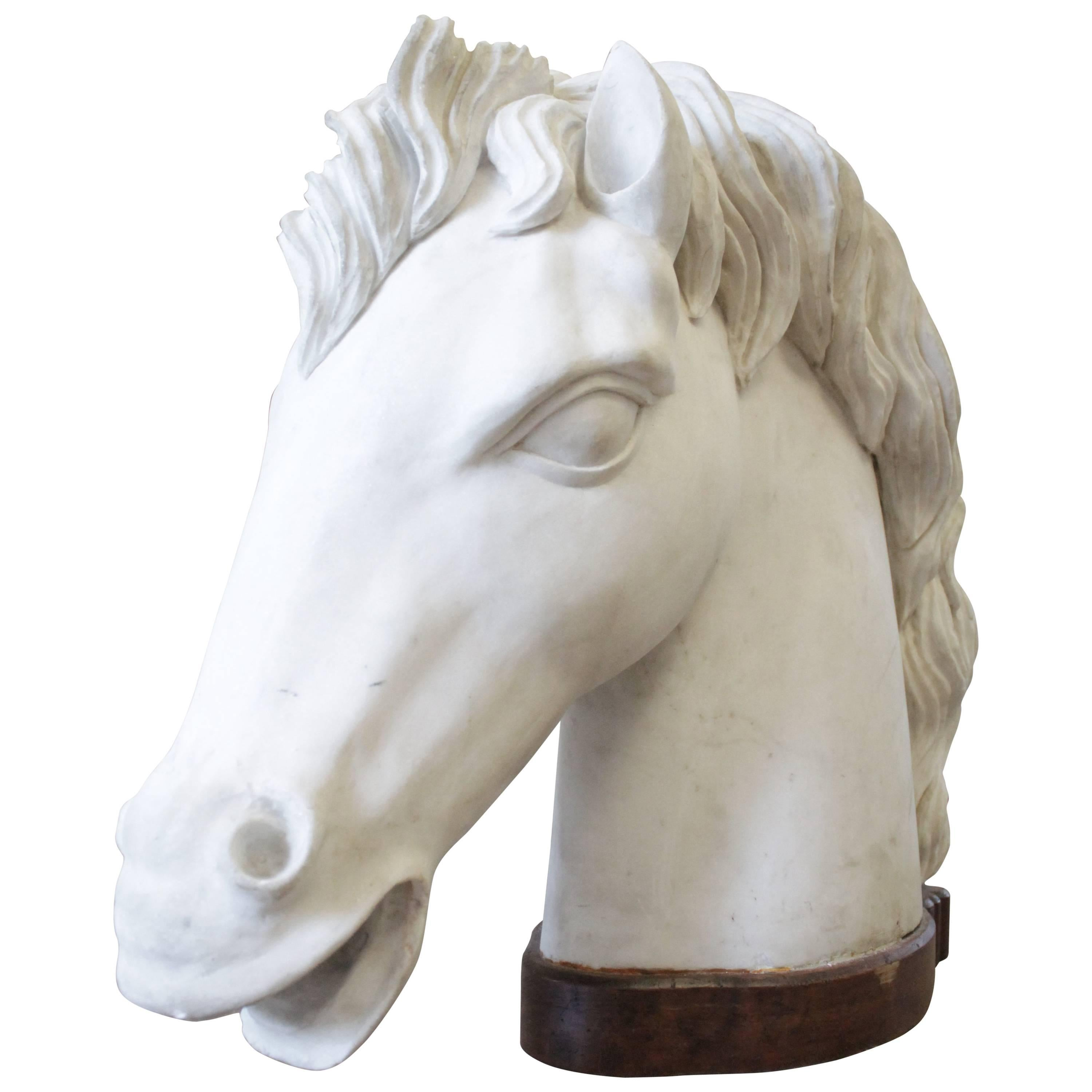 Large Carved Marble Horse Head on Wooden Base