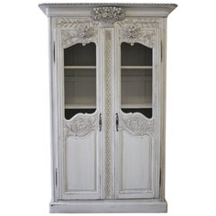 20th Century Painted Country French Display Cupboard