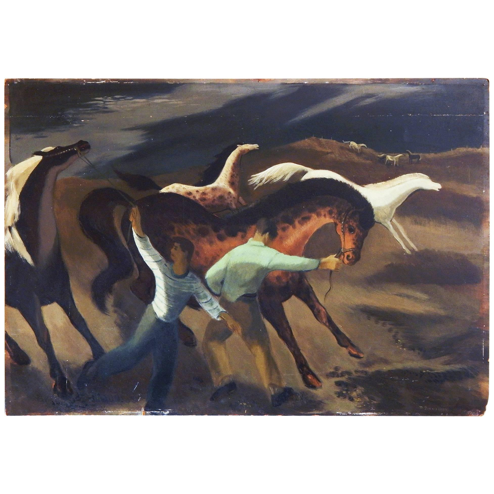 """""""Taming Wild Horses,"""" WPA-Style, Early Social Realist Work by Paul Zimmerman"""