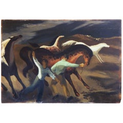 """Taming Wild Horses,"" WPA-Style, Early Social Realist Work by Paul Zimmerman"