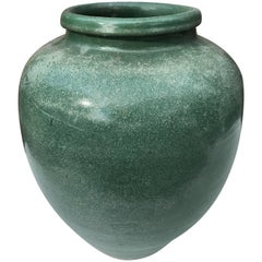 Japan Old Handmade Hand-Painted One-of-a-Kind Green Thick Stone Ware Vessel
