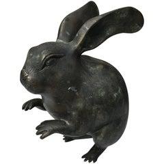 Fine Antique Japanese Bronze Rabbit Usagi, Meiji Period, 1868-1912