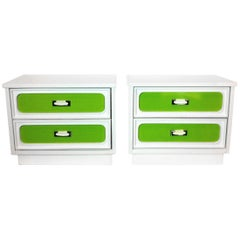 Pair of Side Tables with Color Panel Drawers