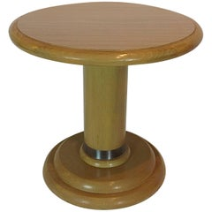 Round Wood and Laminate Art Deco Inspired Side Table