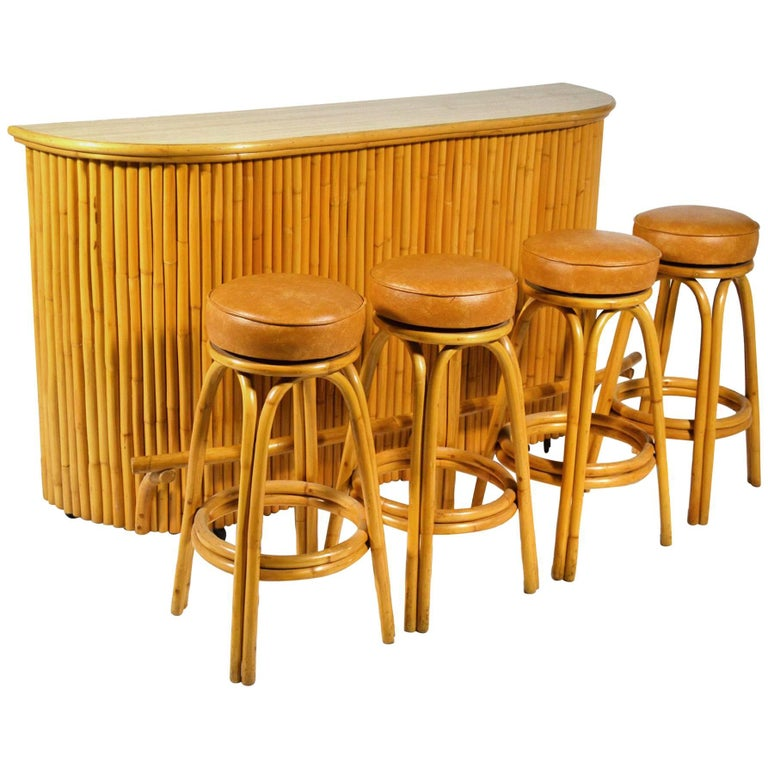 Tropical Rattan Tiki Bar With Four Stools For Sale At 1stdibs