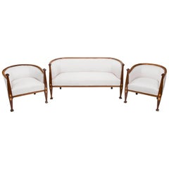 Art Nouveau Settee and Pair of Armchair Set