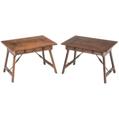 Pair of Antique English Walnut Folding Side Tables