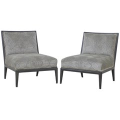 Pair of Charcoal Grey Finish Geometric Cut Velvet Mid-Century Slipper Chairs