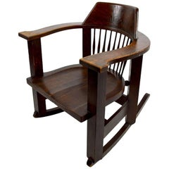 Massive Turn of the Century Oak Rocking Chair